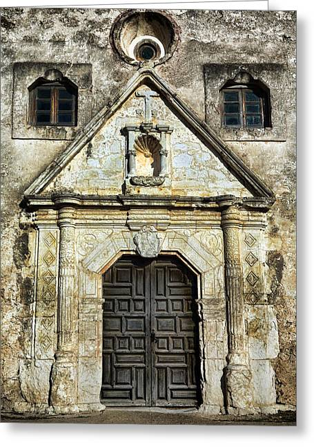 Old Door Greeting Cards - Mission Concepcion Entrance Greeting Card by Stephen Stookey