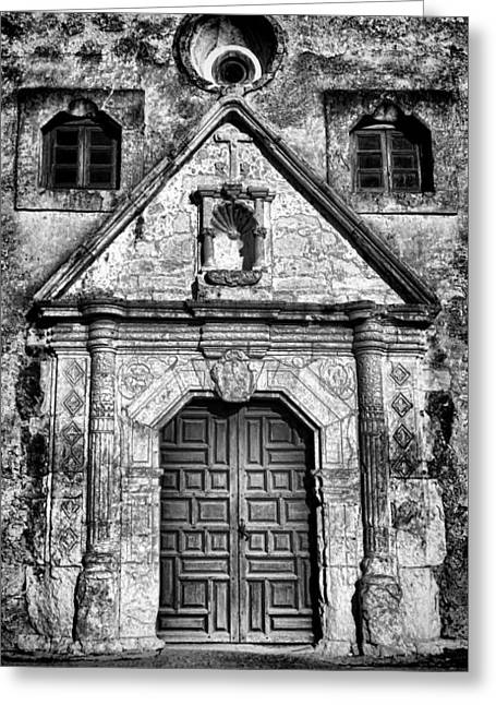 Old Door Greeting Cards - Mission Concepcion Front - Classic BW Greeting Card by Stephen Stookey