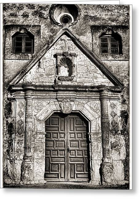 Old Door Greeting Cards - Mission Concepcion - BW Toned Border Greeting Card by Stephen Stookey