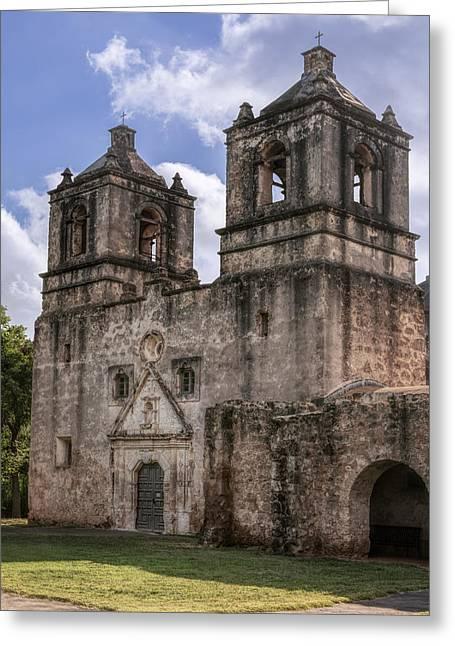 Entrance Door Greeting Cards - Mission Concepcion San Antonio Greeting Card by Joan Carroll