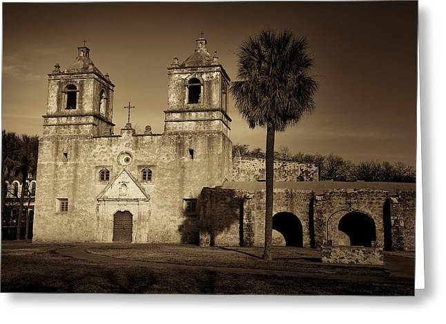 Wooden Building Greeting Cards - Mission Concepcion -- Sepia Greeting Card by Stephen Stookey
