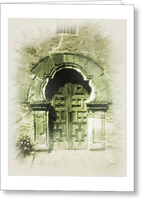 Digital Greeting Cards Greeting Cards - Mission Espada Chapel Door Greeting Card by Cliff Hawley