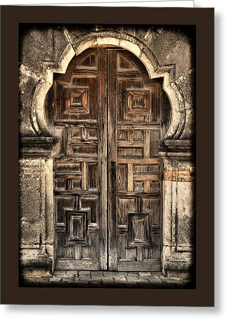 Wooden Sculpture Greeting Cards - Mission Espada Door - 2 Greeting Card by Stephen Stookey