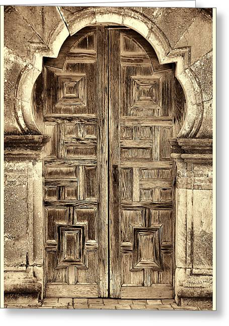 Wooden Sculpture Greeting Cards - Mission Espada Door - 4 Greeting Card by Stephen Stookey