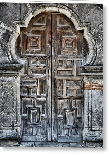 Wooden Sculpture Greeting Cards - Mission Espada Door - 5 Greeting Card by Stephen Stookey