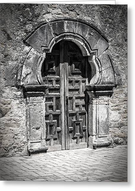 Religious Greeting Cards - Mission Espada Door BW Greeting Card by Joan Carroll