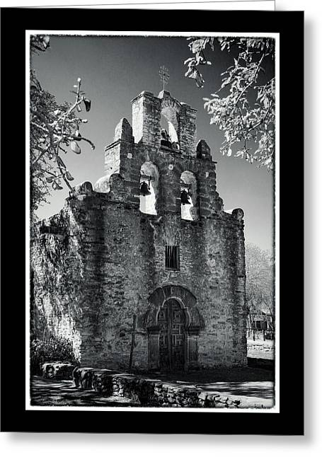 Stones Greeting Cards - Mission Espada Door - BW Greeting Card by Stephen Stookey