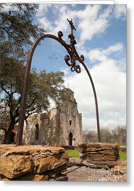 Colonial Architecture Greeting Cards - Mission Espada Greeting Card by Iris Greenwell