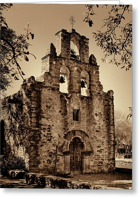 Spanish Greeting Cards - Mission Espada -- Sepia Greeting Card by Stephen Stookey