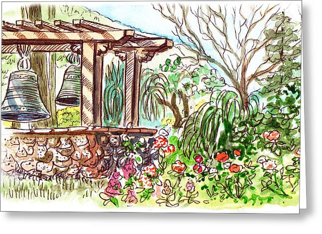 Old Home Place Paintings Greeting Cards - Mission Garden San Louis Obispo Greeting Card by Irina Sztukowski