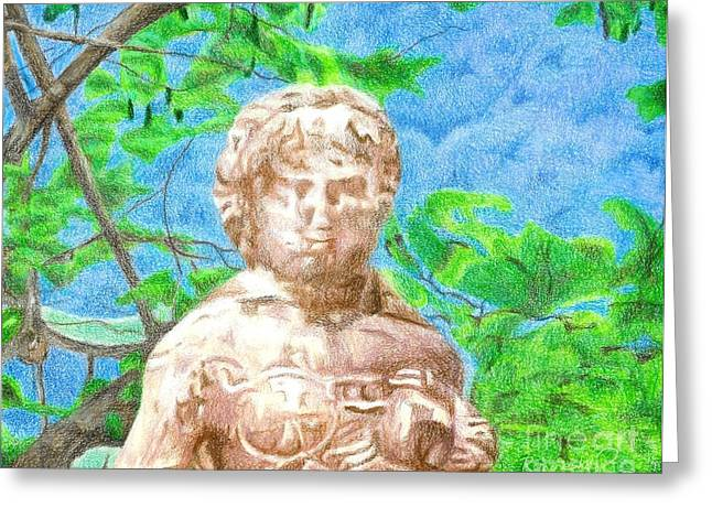 Garden Statuary Drawings Greeting Cards - Mission Garden Statue Greeting Card by Ronine McIntyre