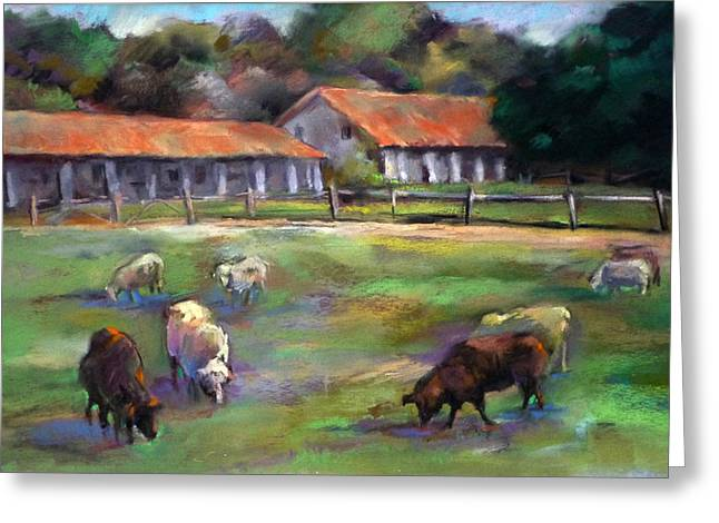 White Sheep Greeting Cards - Mission Grazing Greeting Card by Joan  Jones