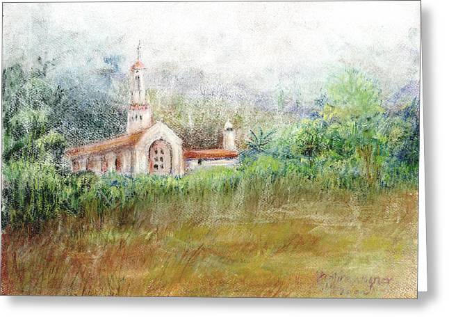 Fog Pastels Greeting Cards - Mission in the Fog Greeting Card by Arline Wagner