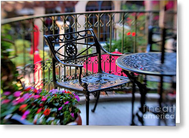 Selective Soft Focus Greeting Cards - Mission Inn Patio Greeting Card by Kim Michaels
