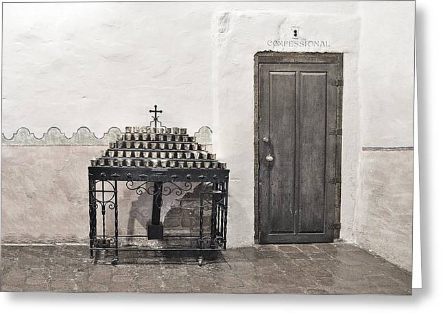 Sinner Greeting Cards - Mission San Diego - Confessional Door Greeting Card by Christine Till