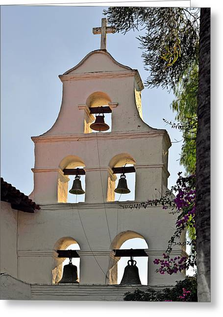 Mission San Diego De Alcala Bell Tower Greeting Card by Christine Till