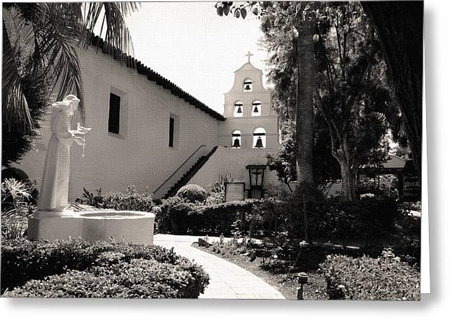 Francis Greeting Cards - Mission San Diego Monochrome Greeting Card by Gordon Beck