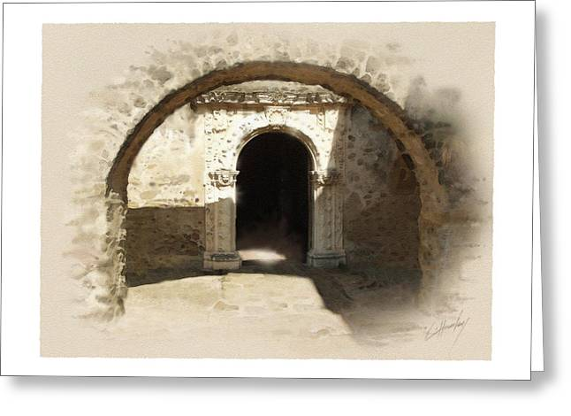 Digital Greeting Cards Greeting Cards - Mission San Jose Back Door Greeting Card by Cliff Hawley