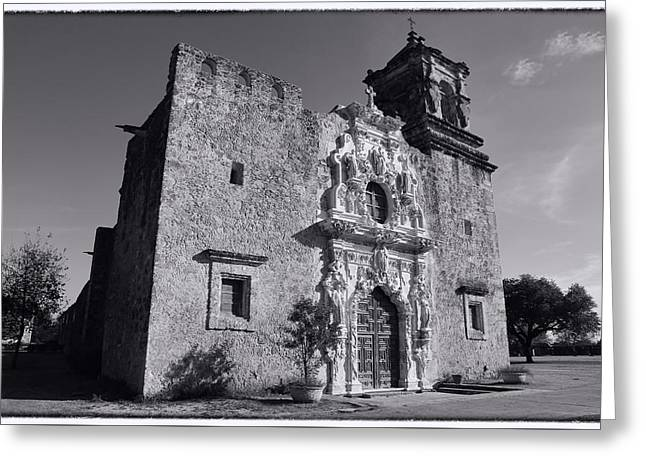 Anne Francis Greeting Cards - Mission San Jose - BW Greeting Card by Stephen Stookey