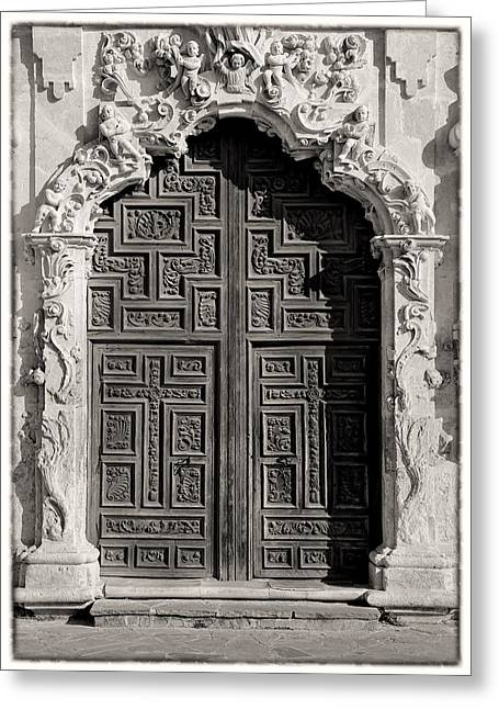 Anne Francis Greeting Cards - Mission San Jose Door - BW Greeting Card by Stephen Stookey