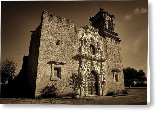 Stone Carving Greeting Cards - Mission San Jose - Sepia Greeting Card by Stephen Stookey