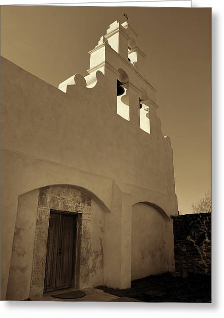 Door Sculpture Greeting Cards - Mission San Juan Capistrano - Sepia Greeting Card by Stephen Stookey