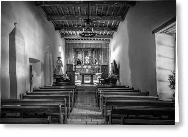 Mission San Juan Capistrano Texas Bw Greeting Card by Joan Carroll