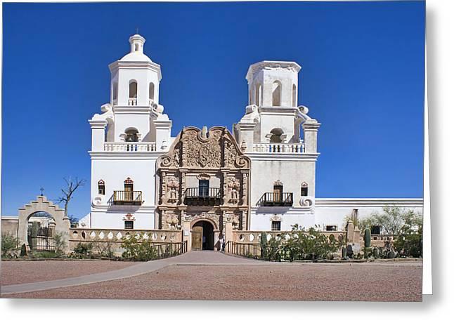 Mission San Xavier Del Bac - Arizona Greeting Card by Nikolyn McDonald