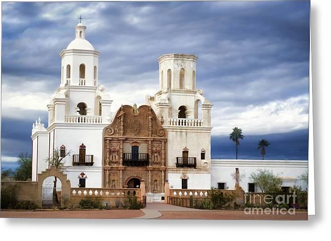 Mission San Xavier Del Bac Greeting Card by Donna Greene