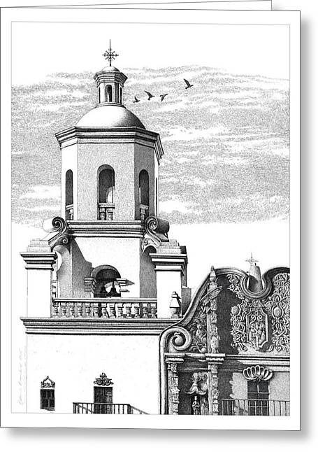 Mission San Xavier Drawing Greeting Card by William Beauchamp