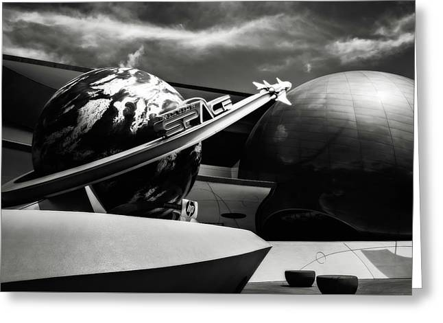 Mission Space Black And White Greeting Card by Eduard Moldoveanu