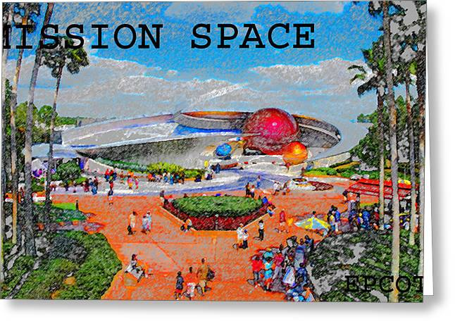 Theme Parks Greeting Cards - Mission Space Landscape Greeting Card by David Lee Thompson