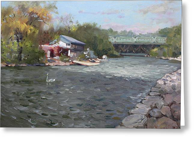 Train Bridge Greeting Cards - Mississauga Canoe Club Greeting Card by Ylli Haruni