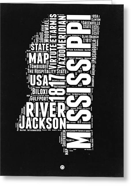 Mississippi Black And White Map Greeting Card by Naxart Studio