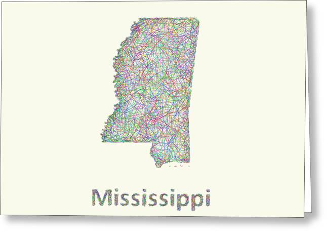 Mississippi Map Greeting Cards - Mississippi line art map Greeting Card by David Zydd