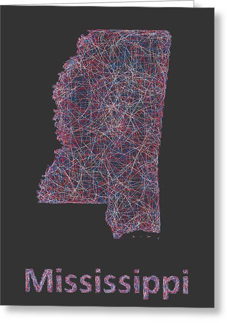 Mississippi Map Greeting Cards - Mississippi map Greeting Card by David Zydd