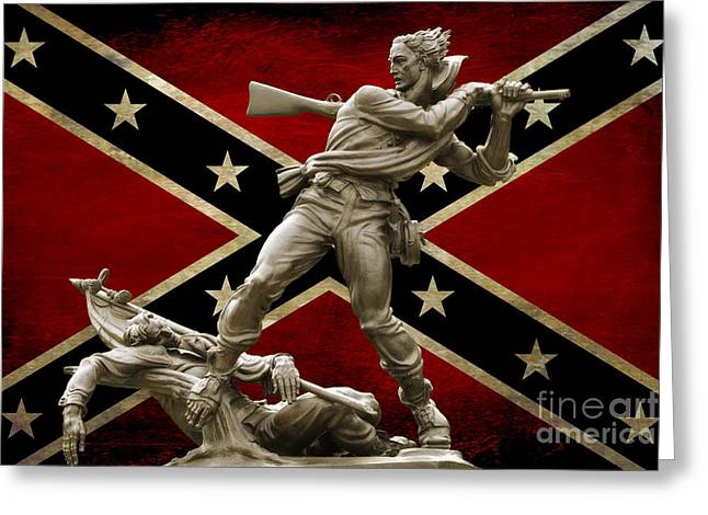 Confederate Flag Greeting Cards - Mississippi Monument and Confederate Flag Greeting Card by Randy Steele