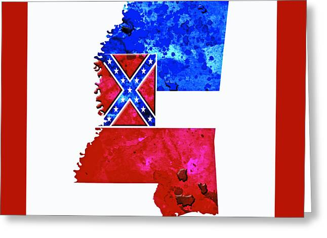Confederate Flag Greeting Cards - Mississippi Paint Splatter Greeting Card by Brian Reaves