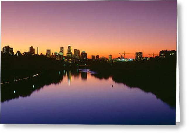 Mississippi River Scene Greeting Cards - Mississippi River, Minneapolis, Sunset Greeting Card by Panoramic Images