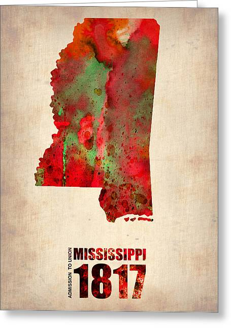 Mississippi Map Greeting Cards - Mississippi Watercolor Map Greeting Card by Naxart Studio
