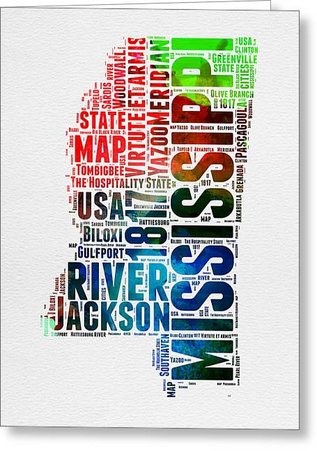 Mississippi Map Greeting Cards - Mississippi Watercolor Word Cloud  Greeting Card by Naxart Studio