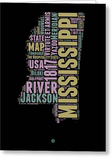 Mississippi Map Greeting Cards - Mississippi Word Cloud 1 Greeting Card by Naxart Studio