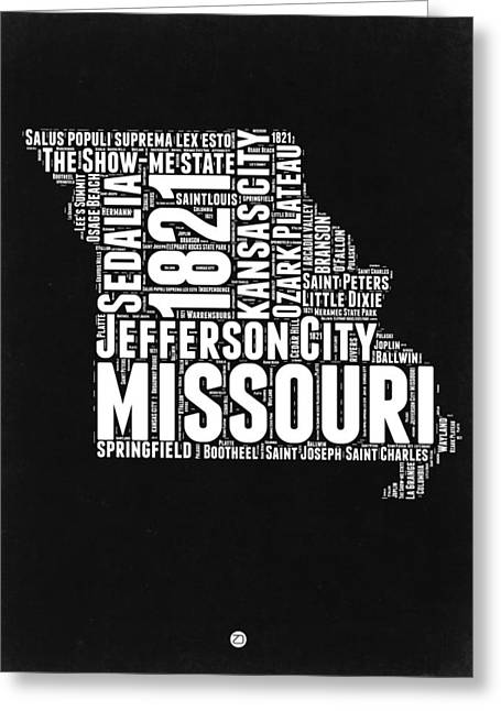 Missouri Black And White Word Cloud Map Greeting Card by Naxart Studio