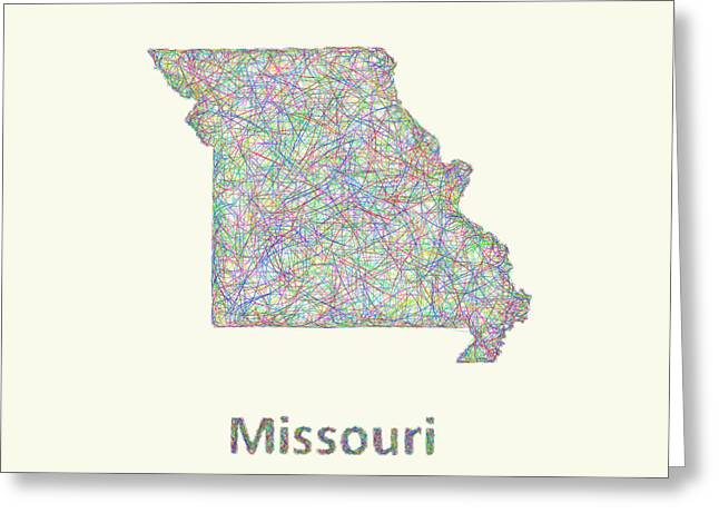 Missouri Greeting Cards - Missouri line art map Greeting Card by David Zydd