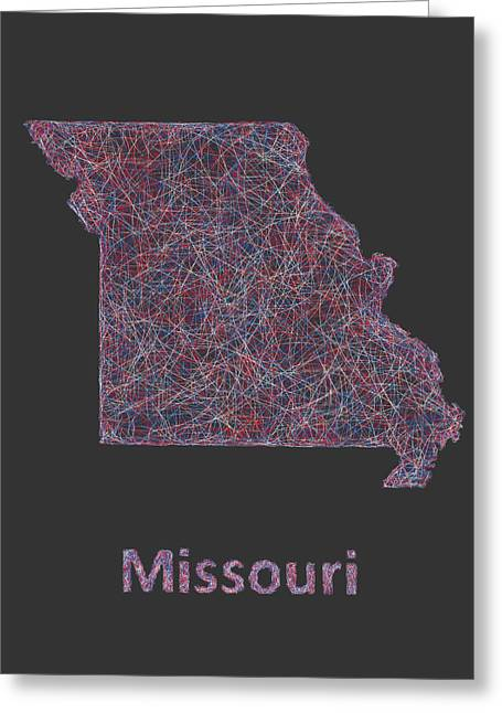 Missouri Greeting Cards - Missouri map Greeting Card by David Zydd