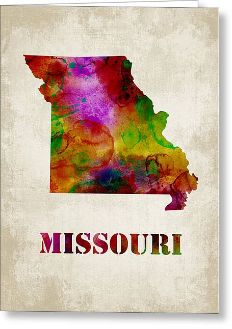 Brown Greeting Cards - Missouri Greeting Card by Mihaela Pater