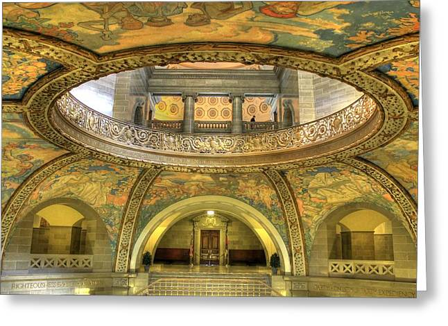 State Legislator Greeting Cards - Missouri State Capitol Rotunda Greeting Card by Jane Linders
