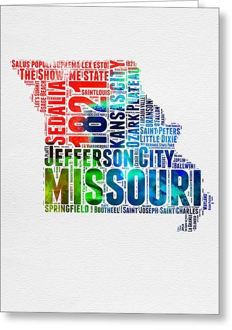 Missouri Watercolor Word Cloud Map  Greeting Card by Naxart Studio