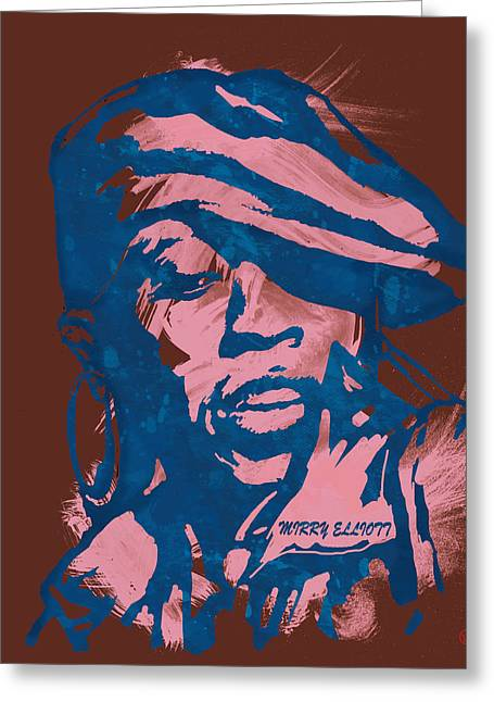 Christina Aguilera Greeting Cards - Missy Elliott Pop Stylised Art Sketch Poster Greeting Card by Kim Wang