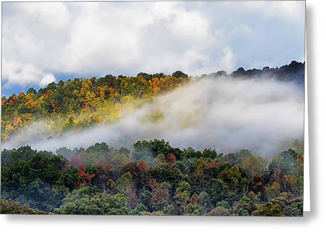 Passing Storm Greeting Cards - Mist and Fall Color Panoramic Greeting Card by Thomas R Fletcher